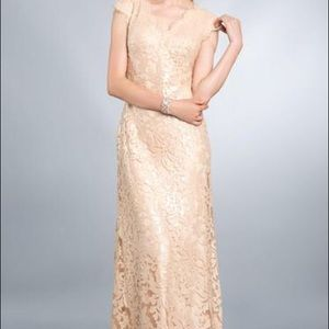 Tadashi Shoji Beige Lace Long Gown Size 2